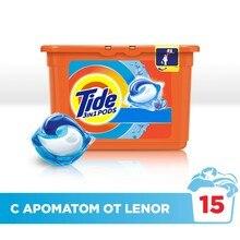 Гель в растворимых капсулах Tide c прикосновением аромата Lenor (15 капсул)