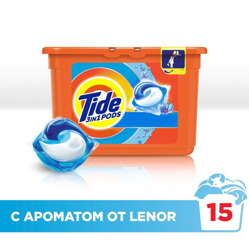 Washing Powder Capsules Tide Touch of Lenor Fresh Pods (15 Tablets) Laundry Powder For Washing Machine Laundry Detergent акустическая система boss audio atv28b усилитель 450 вт 6 5 bluetooth