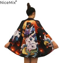 NiceMix Summer Harajuku Blouse Women Kimono Cardigan Unisex Loose Tops And Blouses Print Japanese Cartoon Blusas Mujer De Moda(China)