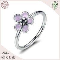 DIY Neue Kollektion European Brand Design 100% 925 Echtsilber Lila Emaille Lorbeer Blume Engagment ringe
