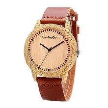 Для женщин простой деревянная текстура Круглый циферблат Искусственная кожа аналоговые кварцевые наручные часы