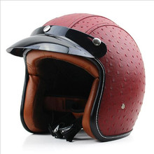 Women Leather Motorcycle Helmet Vintage Retro Cruiser Chopper Scooter Cafe Racing 3/4 Face