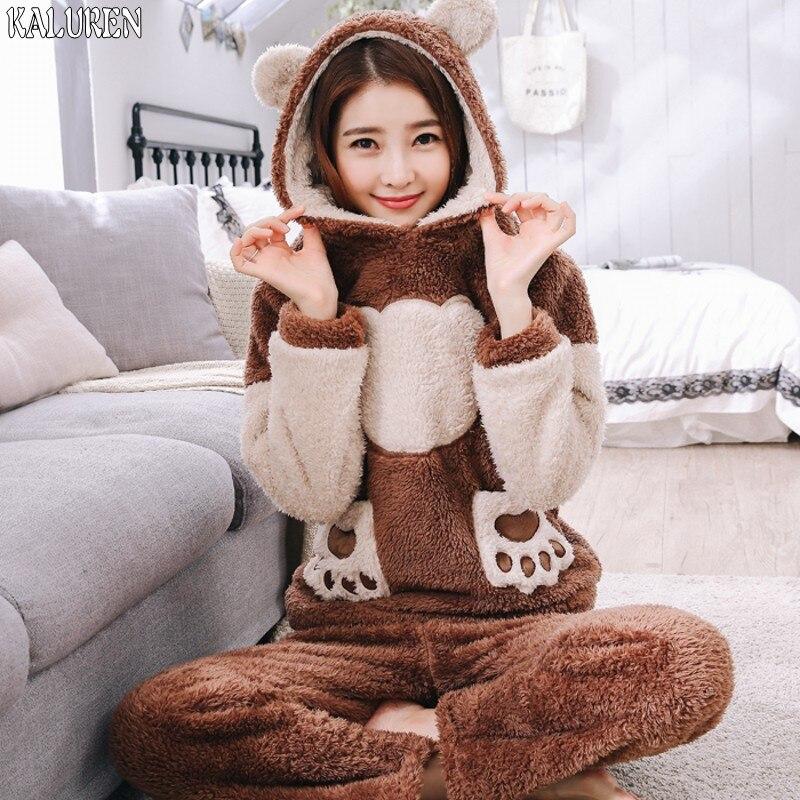 Autumn and winter plus size coral fleece Pajamas sleepwear ...