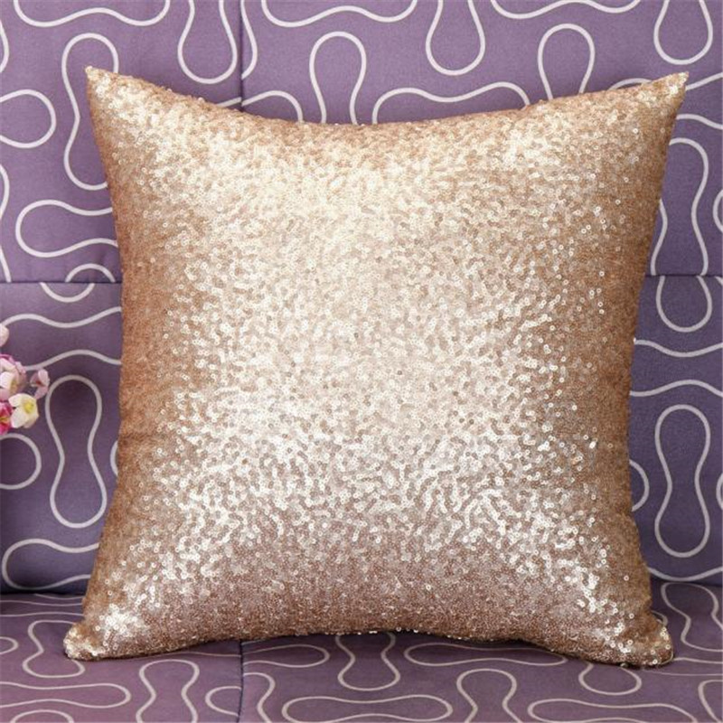 Solid Color Glitter Silver Sequins Bling Throw Pillow Case Cafe Home Cool Bling Decorative Pillows