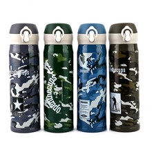 500ML Camouflage Thermose Vacuum Flasks Stainless Steel 304 Insulated Thermos Cup Coffee Mug Outdoor Travel Drink
