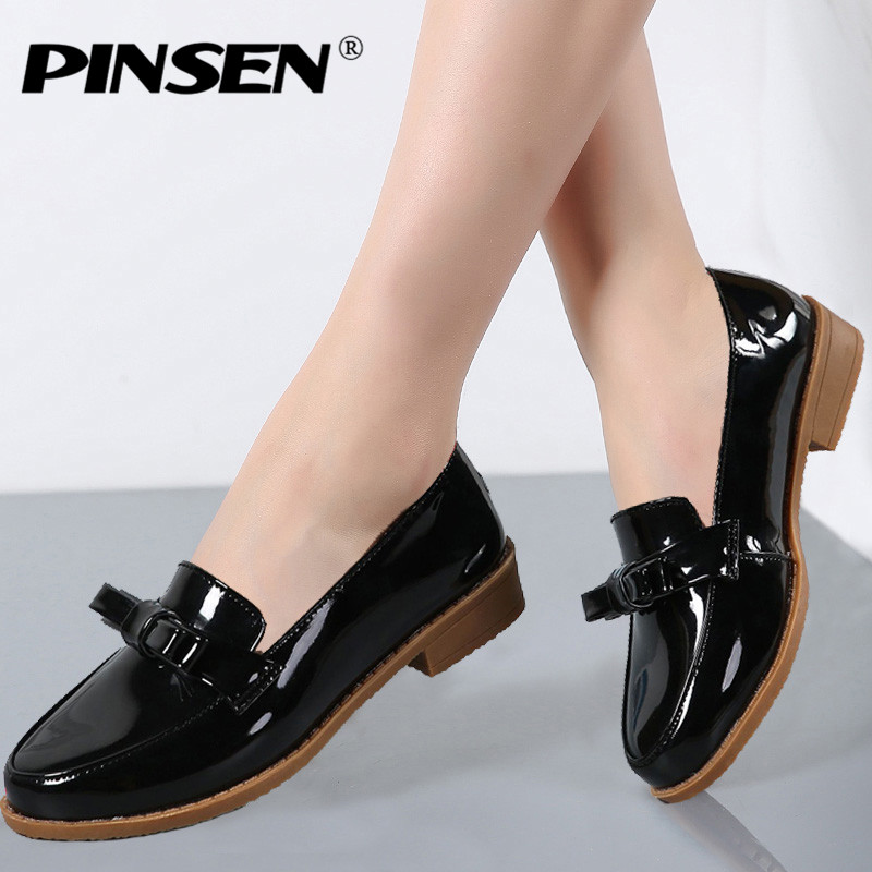 PINSEN 2017 Autumn Women Oxfords Shoes Flats Shoes Women PU Leather Slip-on Flat Heel Fringe Bow Boat Shoes Pointed Toe Flats pu pointed toe covering heel flats