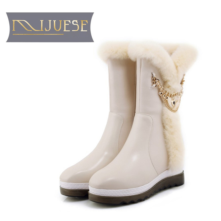 цена на MLJUESE 2019 women Mid-calf boots cow leather chains slip on rabbit hair winter warm short plush fur female boots snow boots