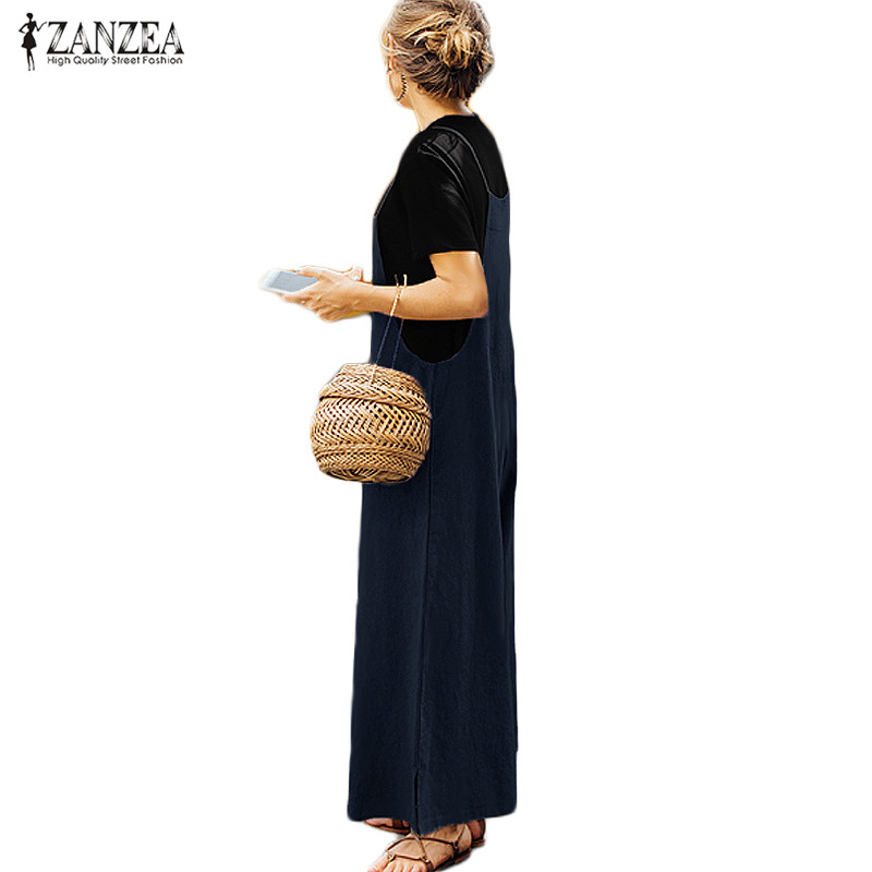 162220242b0 Plus Size New Women Cotton Linen Pockets Long Wide Leg Romper Strappy  Dungaree Bib Overalls Casual Loose Solid Jumpsuit Trousers-in Jumpsuits  from Women s ...