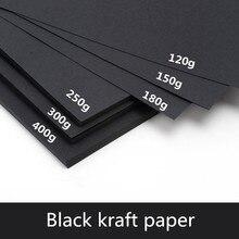 50 unids/lote A3 A4 A5 papel Kraft negro DIY fabricación de tarjetas 120g 150g 180g 250g 300g 400g papel Craft cartón grueso