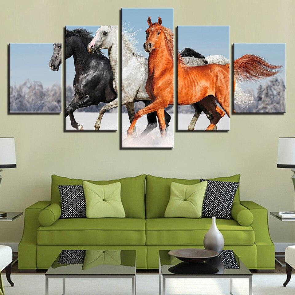Moderna Arte Da Parede Óleo Da Paisagem Cópias Da Lona Quadro 5 Painel Modular de Cavalos Correndo Na Neve Pinturas Pictures Decoração Da Sua Casa