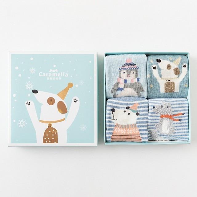 Комплект детских носков «Зимняя собака», 4 пары