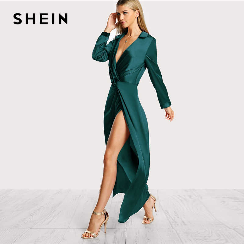 631f6cac64 ... SHEIN Green Collared Plunge Neck Twist Satin Dress Deep V Neck Slim  Maxi Dresses Women Autumn ...
