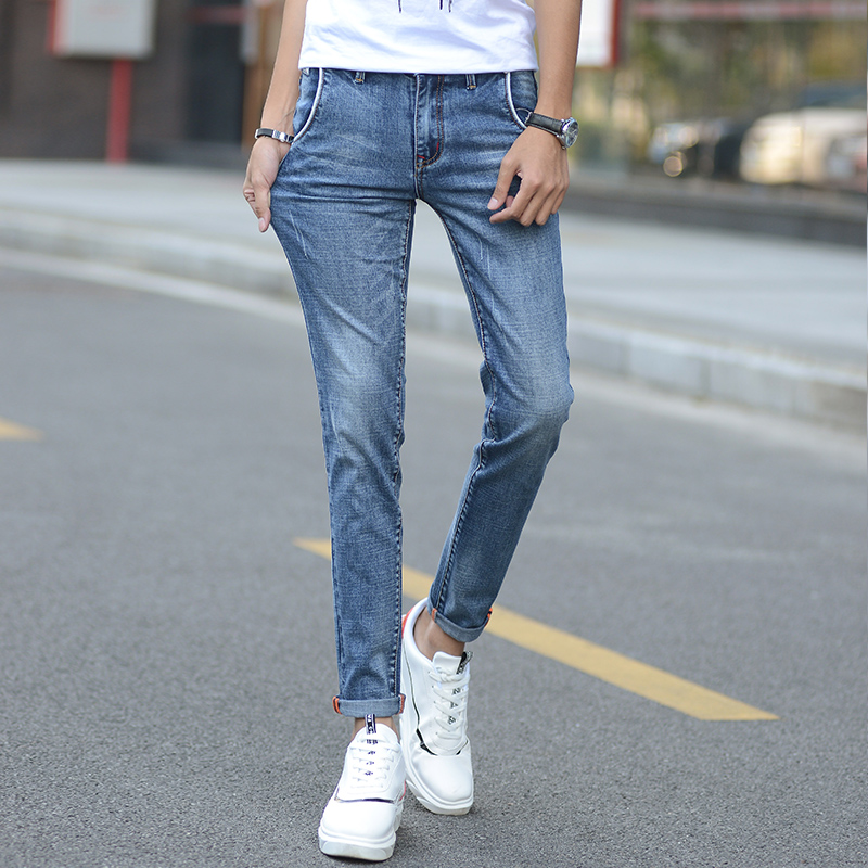 2018 new Men Jeans High elastic force Can be Ankle-Length pants Trendy Stretch Blue Grey Denim Men Slim Fit Jeans Trousers Pants