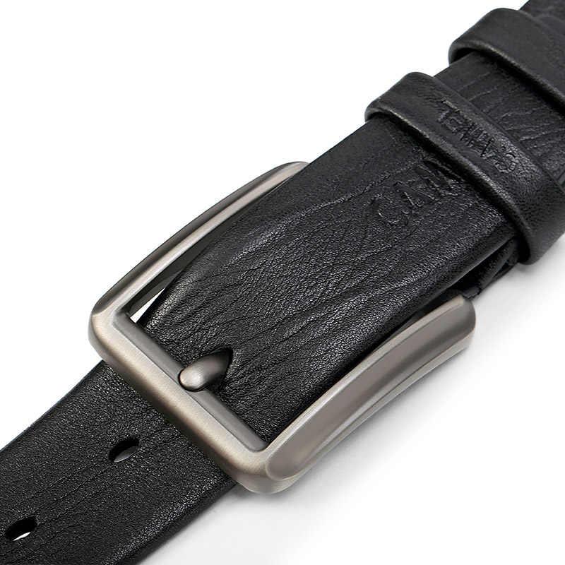 Kameel Mannen Belt Fashion Lederen Business Wilde Casual Pin Gesp Riem Cross Knoopsgat Ontwerp Flexibele Top Laag Koeienhuid