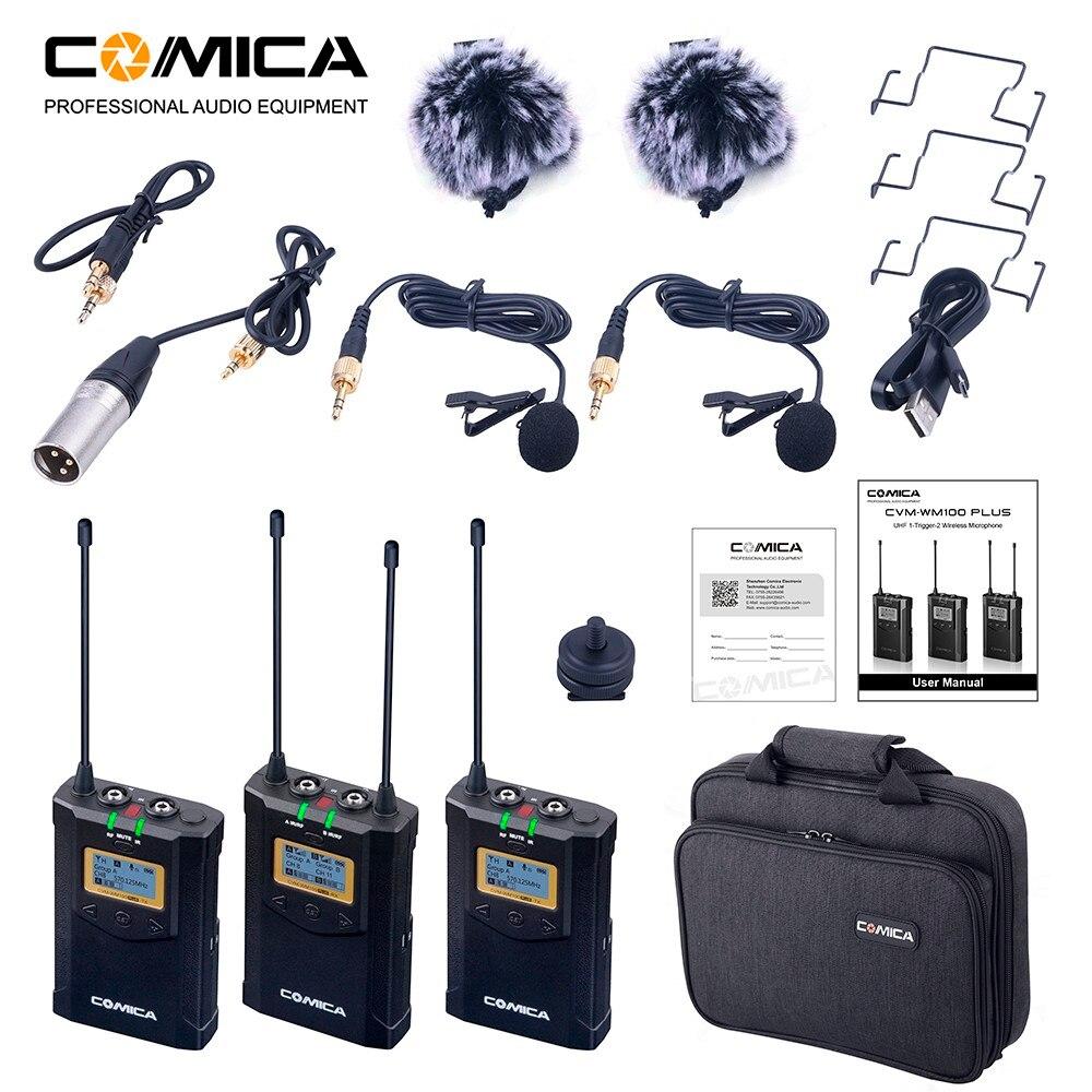 Comica CVM-WM100 Além Disso UHF 48-Canal Duplo Sistema De Microfone De Lapela Sem Fio para Canon Nikon Sony Panasonic DSLR Camera