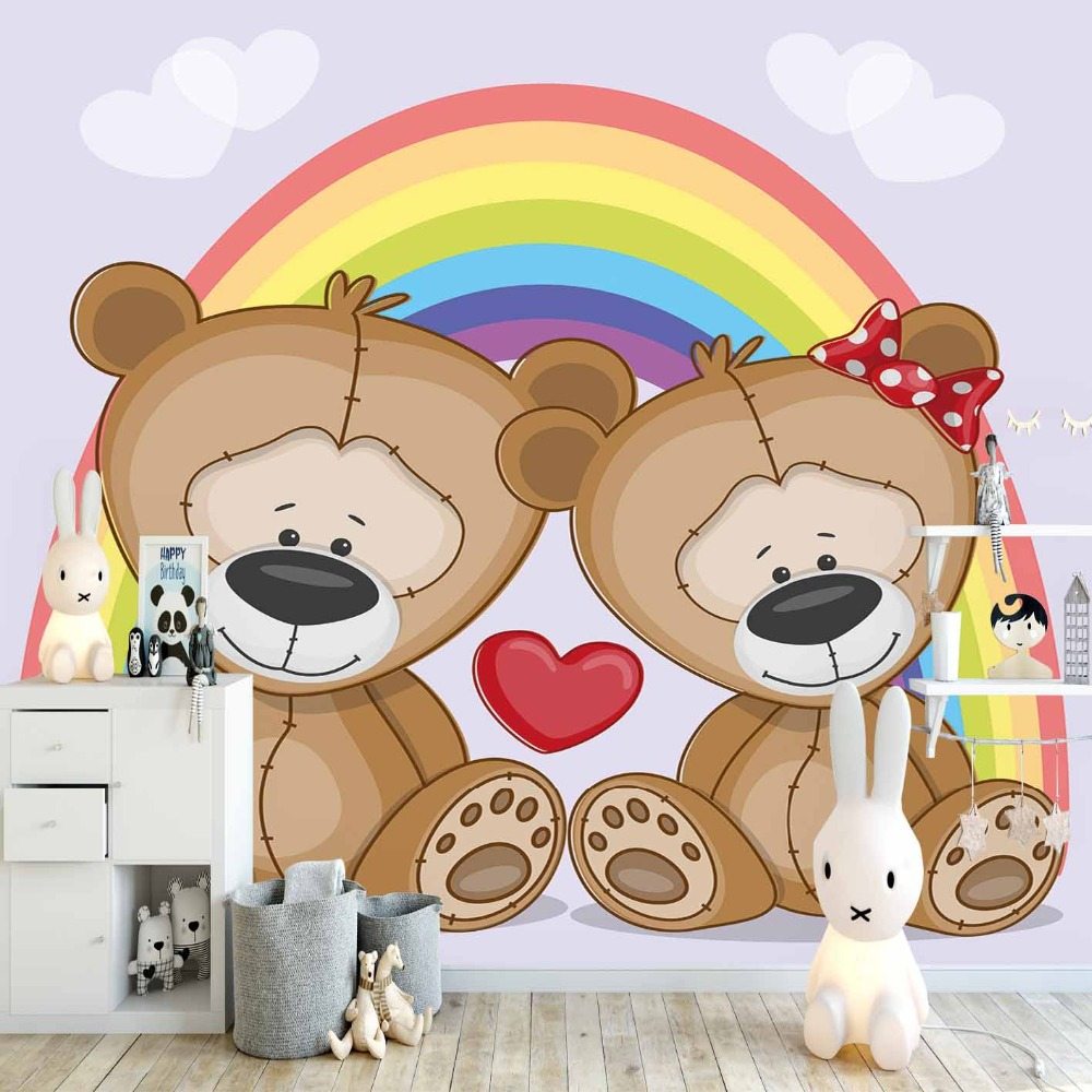 Else Purple White Cloud Rainbow Teddy Bear Heart 3d Print Cartoon Cleanable Fabric Mural Kids Children Room Background Wallpaper