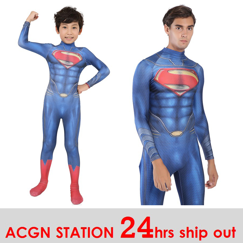 24hrs ship out New Original kid Superman Cosplay Costume Bodysuit One-piece Tights Spandex Lycra Zentai Suit for Halloween