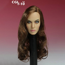 1/6 Scale AccessoiresCGL T-10 Head Sculpt Brown Long Curls Female Angelina Jolie tomb Raider Fit 12 Inch Wheat Body PH/HT Toys