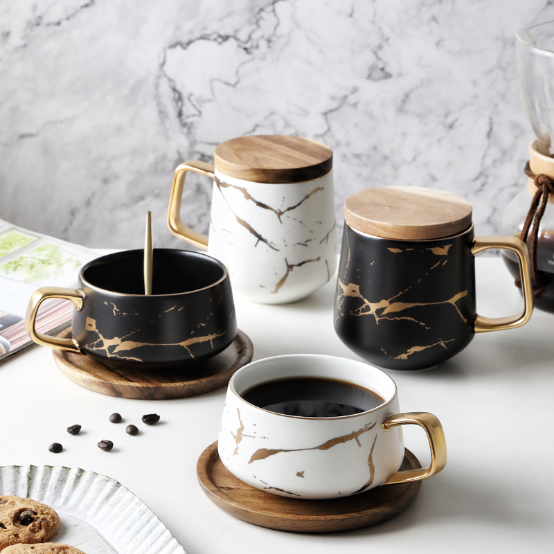 Nordic Ceramic Coffee Mug Marble Texture Mug Home Water Cup Breakfast Cup With Lid Spoon Creative Cup Gift Home Accessories