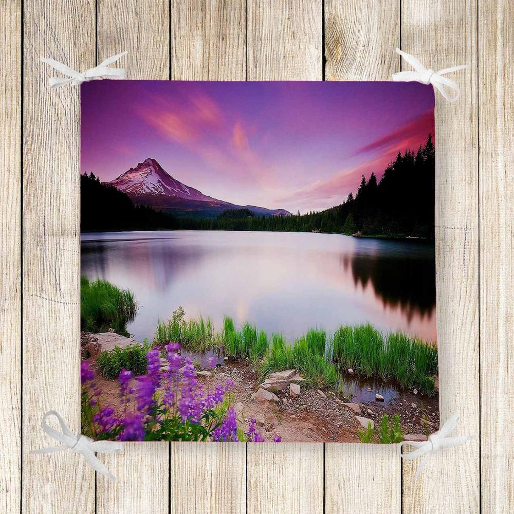 Else Purple Lake Flowers Landscape 3d Print Chair Pad Seat Cushion Soft Memory Foam Full Lenght Ties Non Slip Washable Zipper