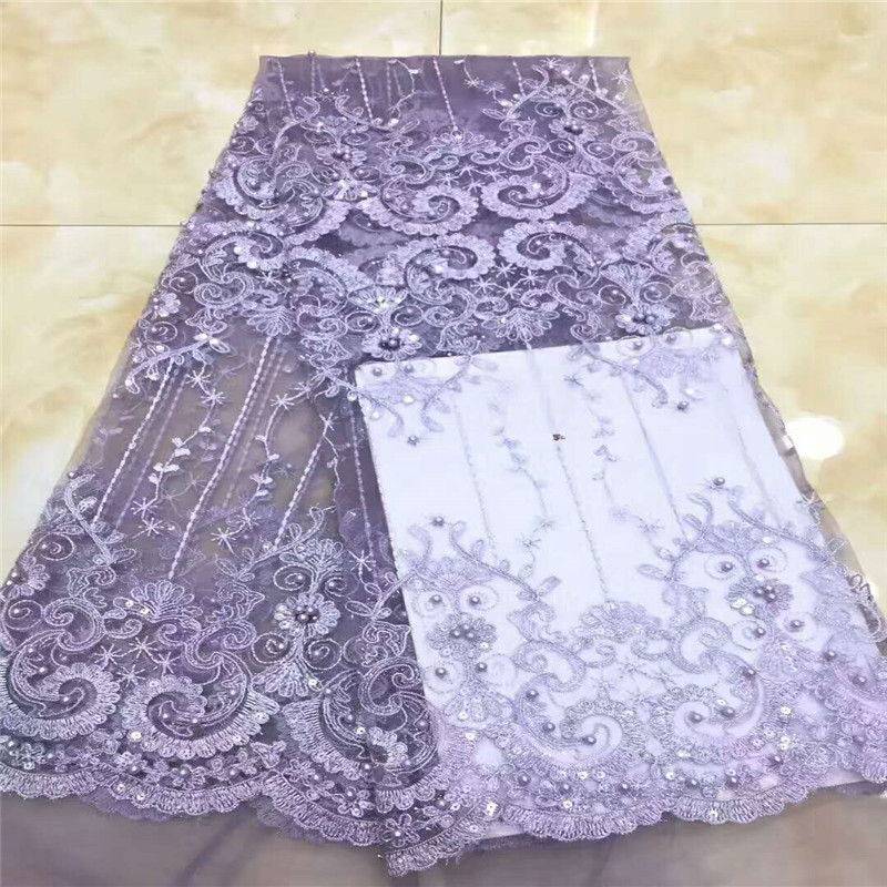 Purple African Lace Fabric 2018 High Quality Nigerian Lace Fabrics For Wedding 2018 Beaded French Tulle