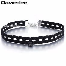 11mm Fashion Sexy Elegant Black Velvet Collar Flower Women Choker Necklace with Bead Man made Leather Charm Adjustable LUN113(China)