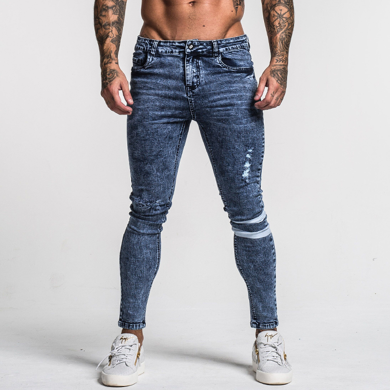 Image 3 - Gingtto Mens Skinny Jeans Slim Fit Ripped Jeans Big and Tall Stretch Blue Jeans for Men Distressed Elastic Waist 32 Leg 30 zm49-in Jeans from Men's Clothing
