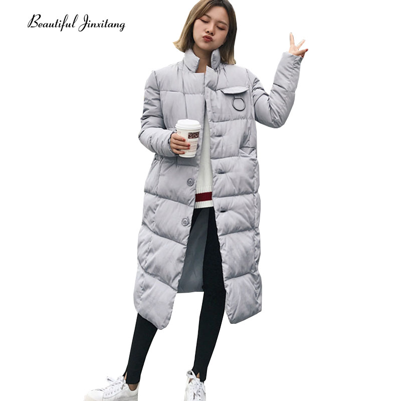 Long Paragraph Cotton Clothing Women Autumn Winter Coat 2017 New Parka For Girls Kids Fashion Casual Stand Collar Jacket W11A9
