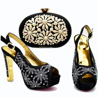 Elegant black new shoes and bag matching set size 37 to 42 2018 fashion shoes and bag italy design sandal clutches SB8269 4