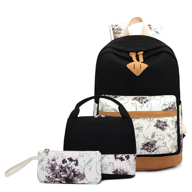 Spot canvas Adult teen backpack female Korean version of pastoral wind  backpack three-piece  set student bag wholesale retail 6dfa96033d3ec