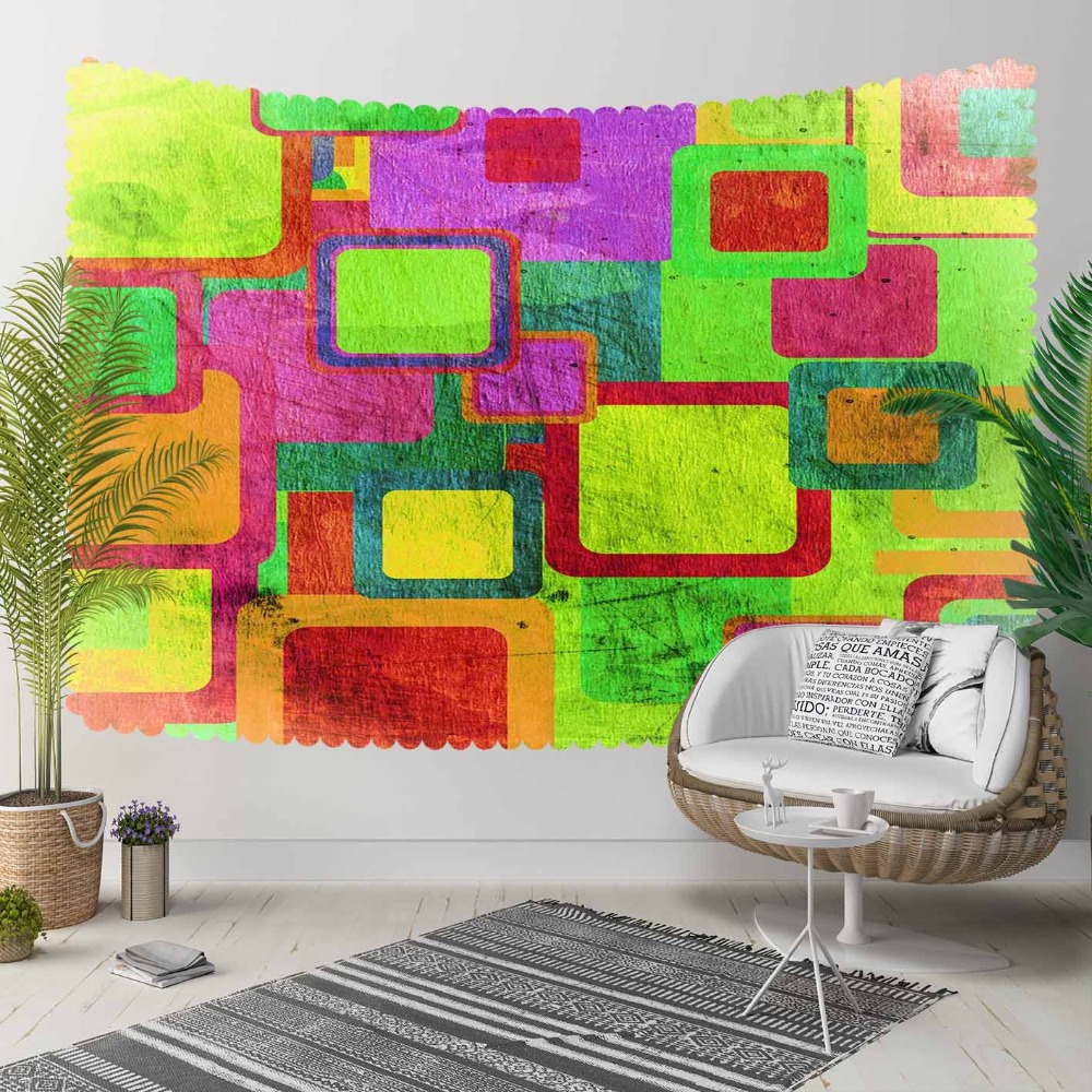 Else Phosphorous Color Green Red Purple Yellow Cubes 3D Print Decorative Hippi Bohemian Wall Hanging Landscape Tapestry Wall Art