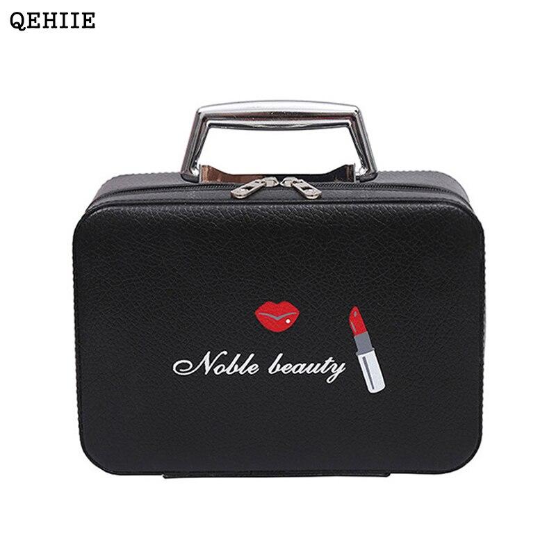 QEHIIE new high-end PU ladies cosmetics cosmetic bags travel portable cosmetics storage box Organizer travel beauty makeup case qehiie brand women s makeup box