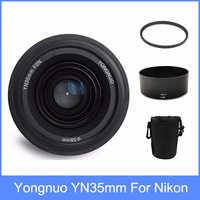Yongnuo YN35mm F2 lente gran angular de gran apertura fija de enfoque automático lente + 58mm filtro UV + bolsa de lente + capucha de lente para Nikon