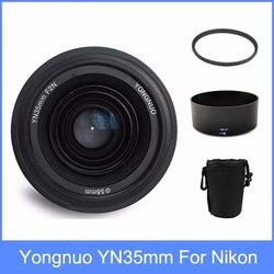 Yongnuo yn35mm f2 lente grande angular grande abertura fixa lente de foco automático + 58mm filtro uv + lente saco + capa de lente para nikon