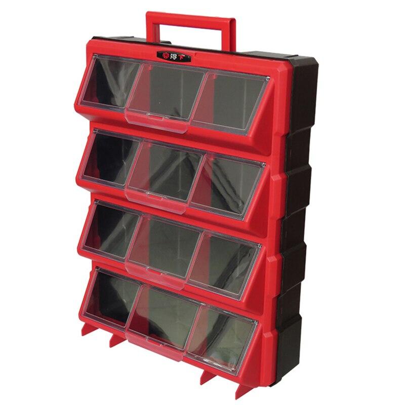 12 Bins Storage Tool Case Plastic Parts Storage Hardware Grid Craft Cabinet Tool Case Drawer