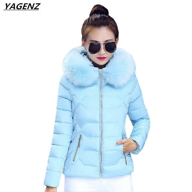 Women Jacket 2017 New Warm Cotton Jacket Women Hooded Fur Collar  Short Cotton-padded Clothes Plus Size Winter Coat YAGENZ K378