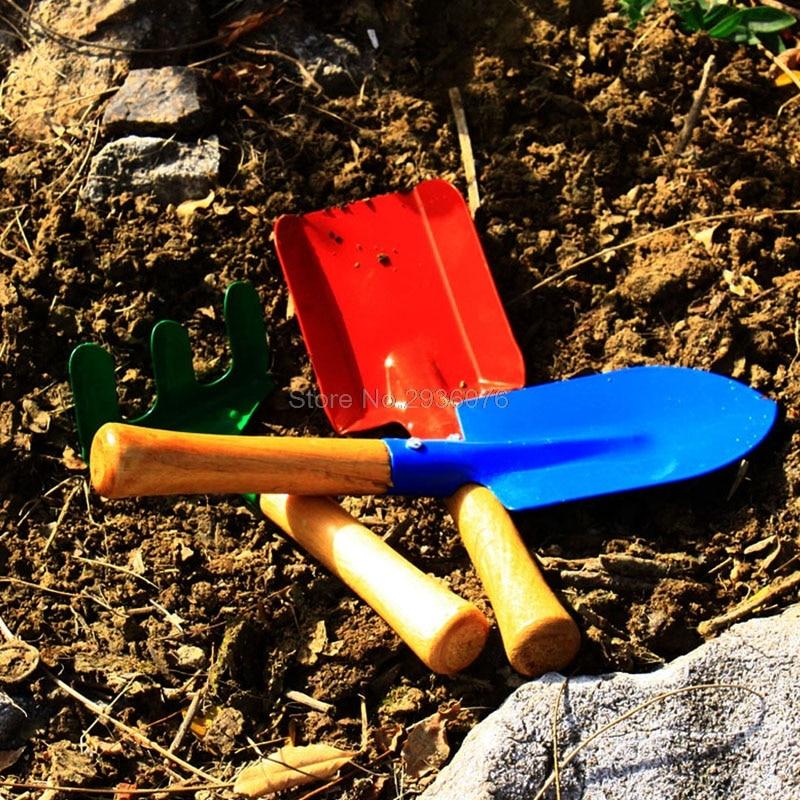 3Pcs/lot Kid Children Mini Garden Tools Set Trowel Rake Shovel Home Garden Beach Toy