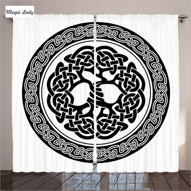 Weiß Vorhänge Wohnzimmer Schlafzimmer Native Keltischer Baum Des