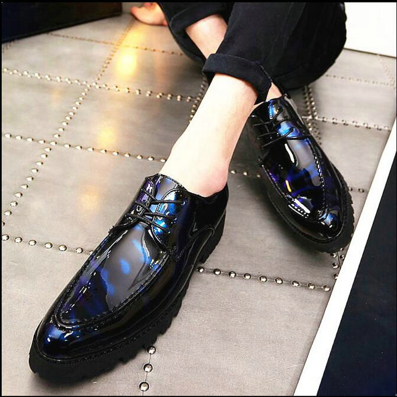 New Design Luxury Patent Leather Lace Up Male Dress Shoes Party Wedding Formal Footwear Men Brogue Shoes LE-40 stylish men s formal shoes with patent leather and embossing design
