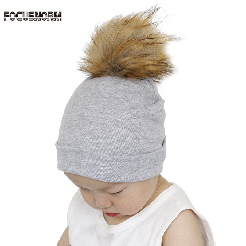 Focusnorm 0-3Y Unisex Baby Hat Pompom Faux Fur Baby Cap Toddler Faux Raccoon Fur Pompom Cotton Beanie Hats Children Solid Caps qiumei winter women fur bomber hats real raccoon fur brown wine trapper hats caps pompom male russian bomber hat genuine fur