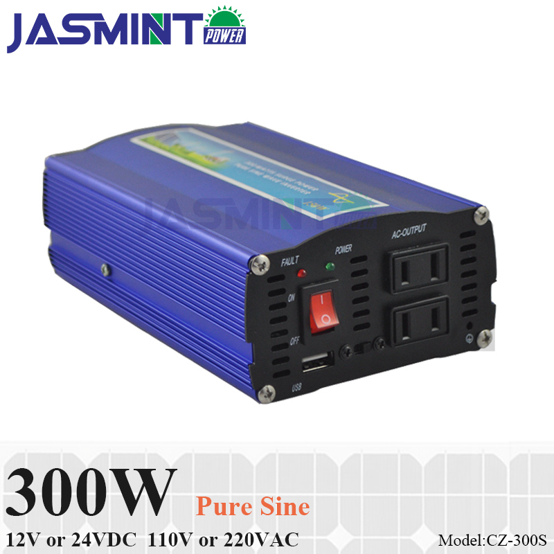 300 W fora da rede inversor, 12 V/24 V DC para AC110V/220 V potência do inversor de onda senoidal pura para solar ou eólica sistema de energia, poder surge 600 W