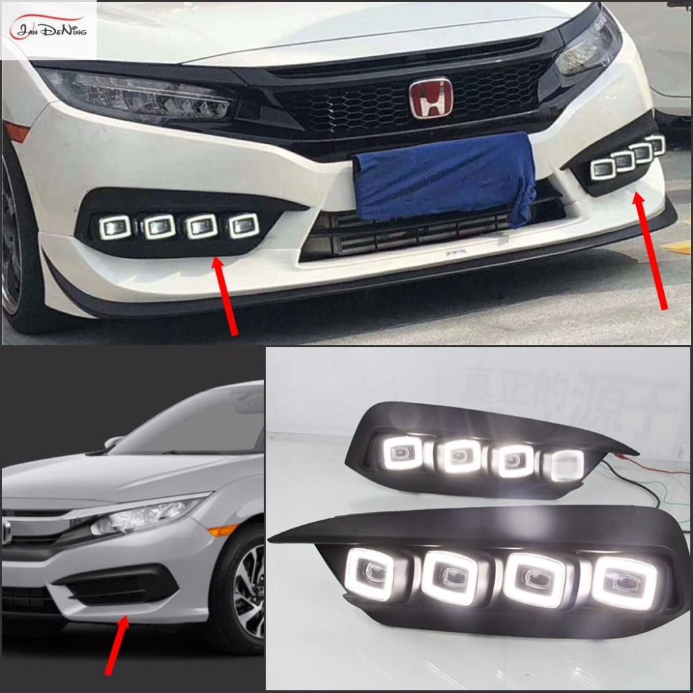 JanDeNing 2 шт. Белый светодиодный дневного света противотуманных фар DRL для Honda Civic 10th 2016-2018