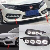 JanDeNing 2PCS White LED Daytime Running Light Fog Light DRL for Honda Civic 10th 2016 2018