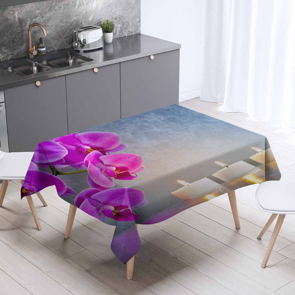 Else Gray Floor Purple Orchid Flower Candle 3d Pattern Print Washable Thicken Cotton Cloth Rectangular Square Kitchen Tablecloth