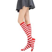 5 pár / csíkos csíkos térd zokni női lányok comb magas zokni női hosszú csíkos harisnya Lady vicces boldog zokni 8