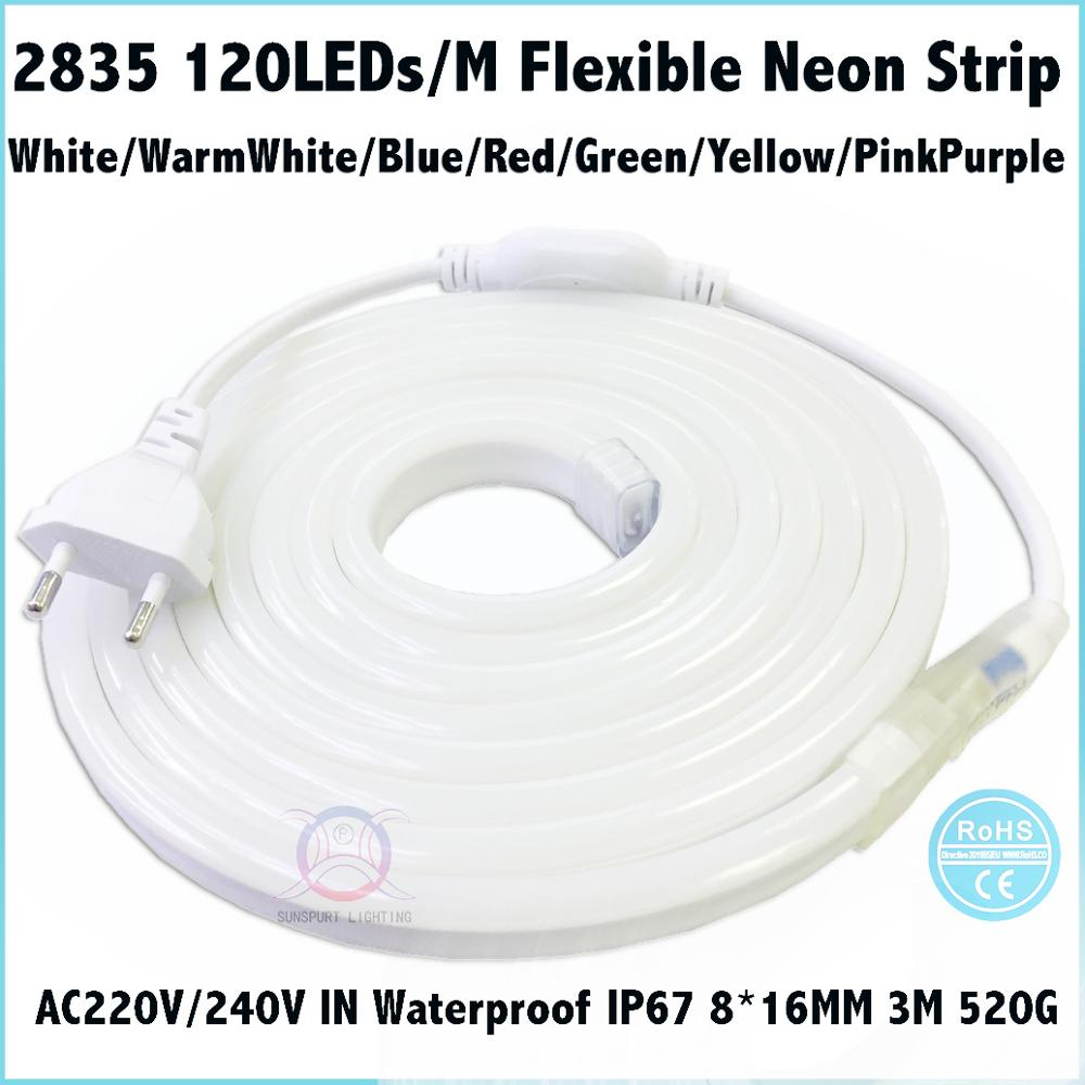 2-20M IP67 220V 2835 LED 120LED//M Flexible Neon Strip Engineering Outdoor Indoor