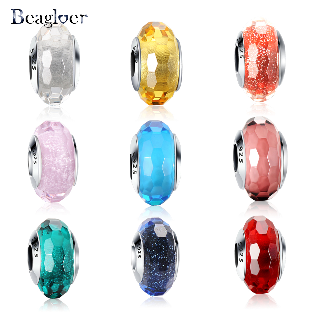 New Arrival Colorful Glass Bead Charms For 925 Sterling Silver Bracelets Bangle