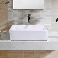 Xueqin White Square Bathroom Porcelain Ceramic Vessel Sink Basin Bowl For Washroom Toilet