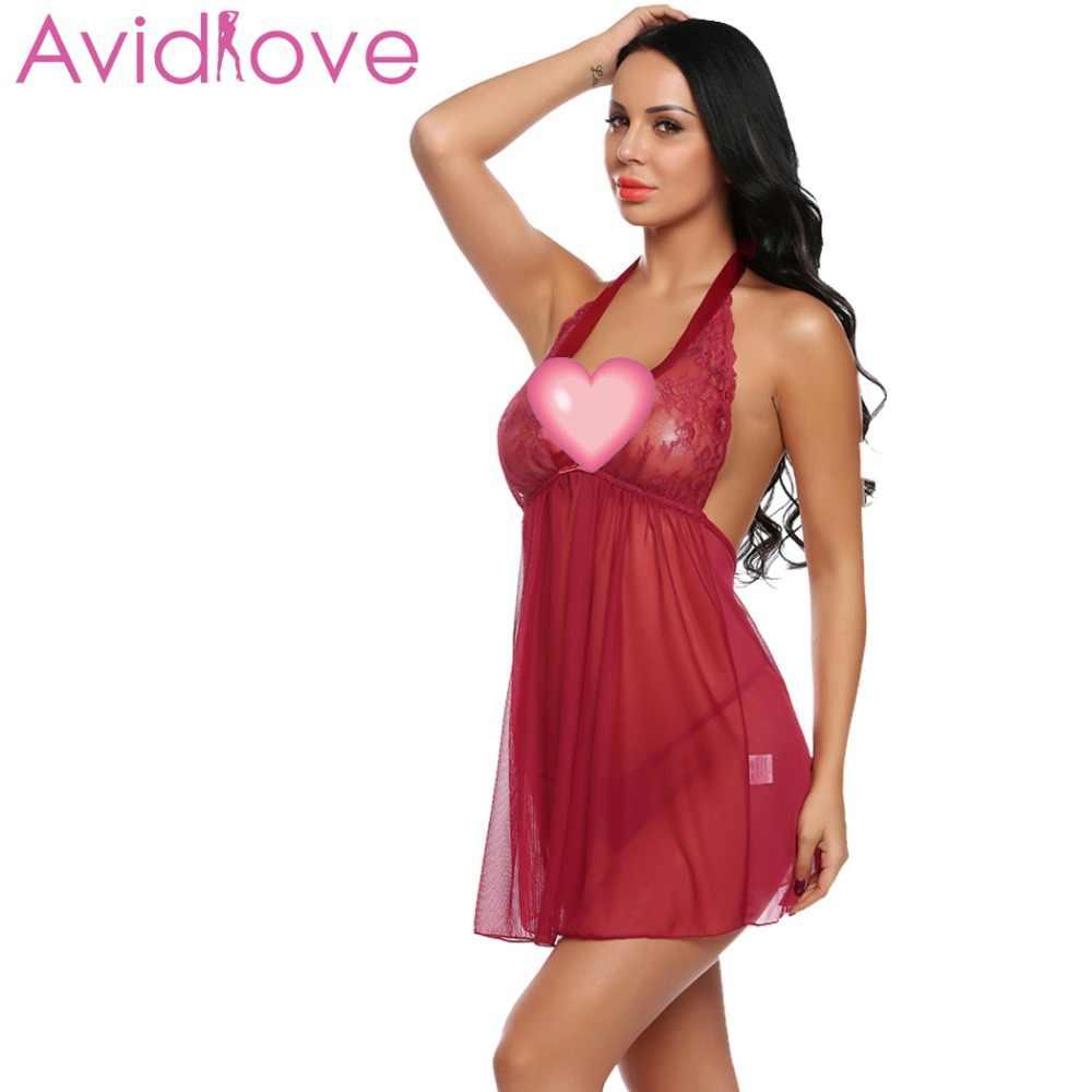 Avidlove 2018 nouvelle robe de Babydoll femmes Sexy Lingerie chaude érotique sexe Costume dentelle maille chemise de nuit porno vêtements femmes sous-vêtements