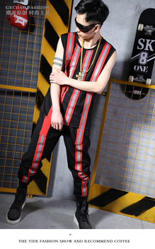 Personality Man Cool reflective vests costumes set Nightclub singer DJ stage costumes singer dance performance clothing set